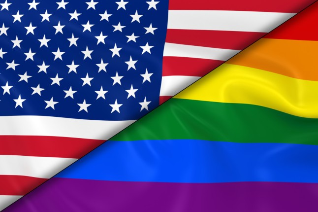 Flags of Gay Pride and the US Divided Diagonally - 3D Render of the Gay Pride Rainbow Flag and the United States of America Flag with Silky Texture